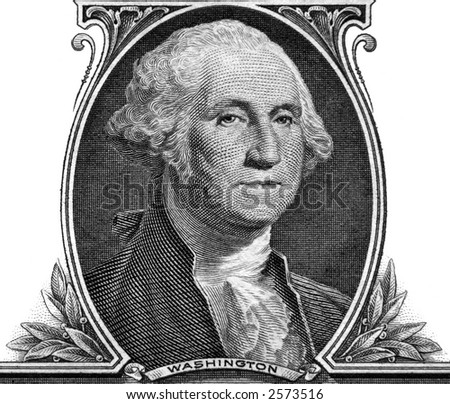 Portrait of George Washington on one dollar banknote