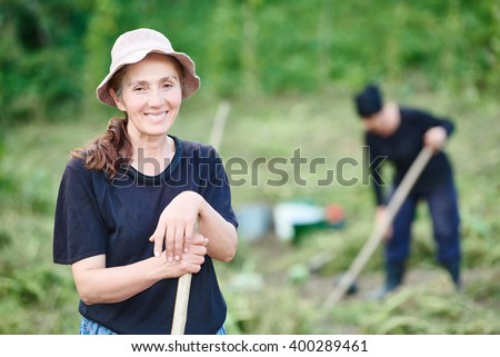 Portrait of georgian villager on farm - stock photo