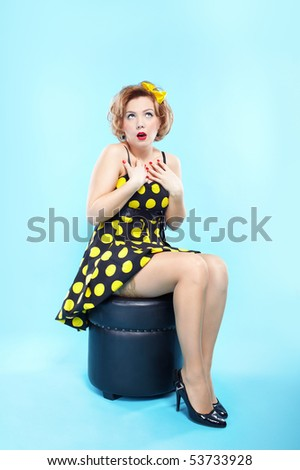 portrait of girl dressed and maked up in retro style - stock photo