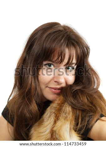 portrait of  girl in fox fur over white background - stock photo