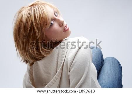 portrait of girl in pose - stock photo