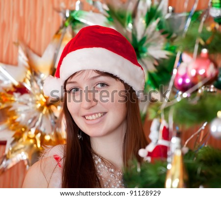 portrait of girl in red Christmas hat