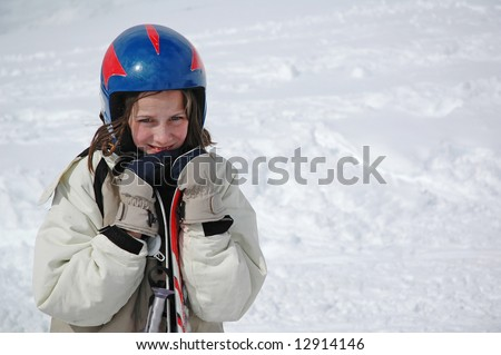 portrait of girl in snow - stock photo
