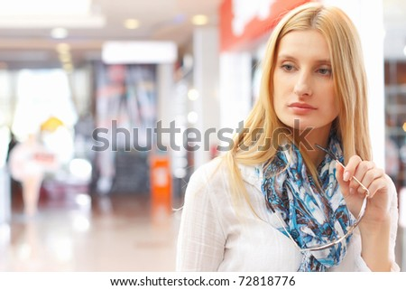 Portrait of girl in the shop