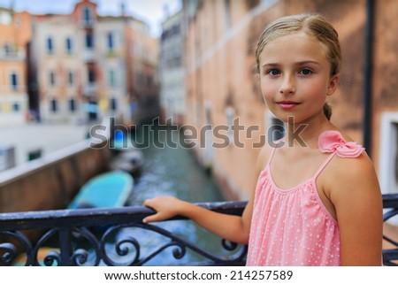 Portrait of girl in Venice, Italy - stock photo