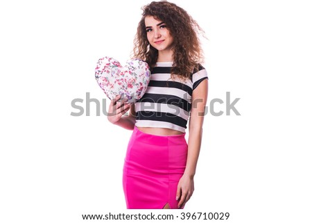 Portrait Of Girl Isolated Holding a Paper Heart Over White Background - stock photo