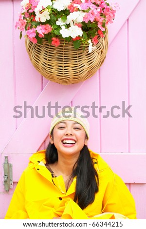 Portrait of girl laughing - stock photo