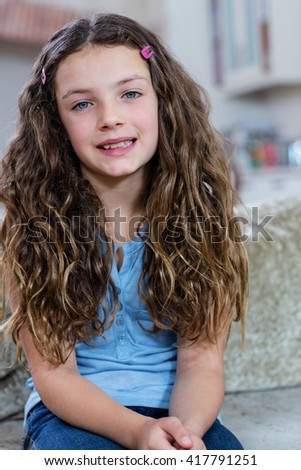 Beautiful Little Eight Year Old Blonde Stock Photo