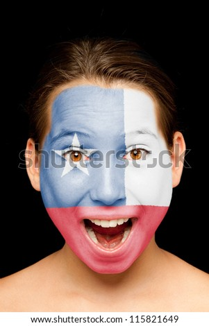 portrait of girl with chilean  flag painted on her face - stock photo