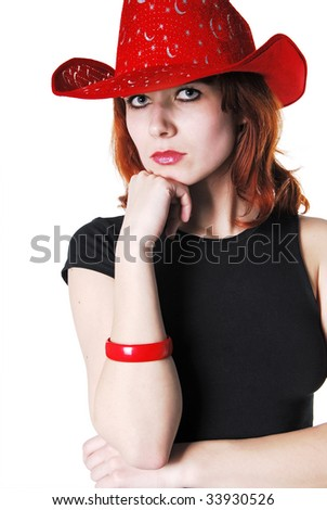 portrait of Girl with hat. isolated - stock photo