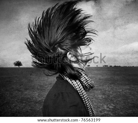 Portrait of girl with iroquois at outdoor. Photo in old black and white style. - stock photo