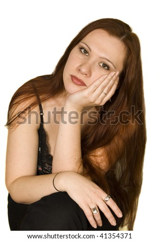 portrait of girl with long red hair - stock photo