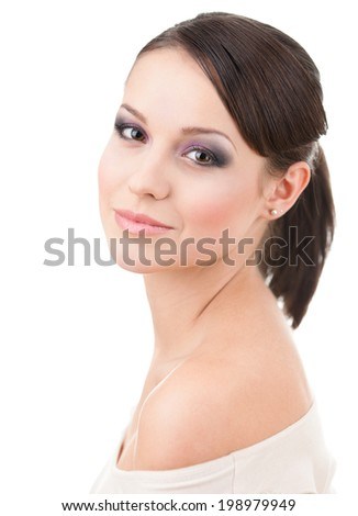 Portrait of girl with makeup, isolated on white - stock photo