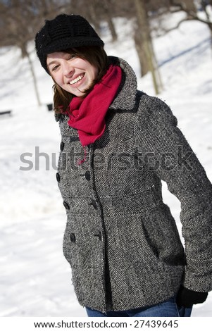 Portrait of girl with scarf in park setting