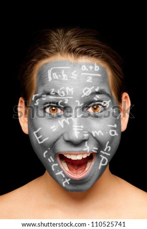 portrait of girl with science formulas painted on her face - stock photo