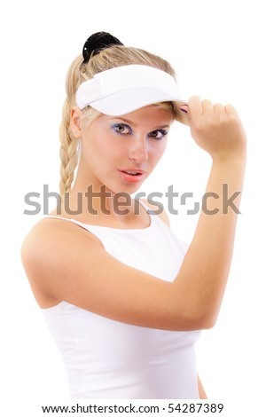 Portrait of girl with sun-protection peak on head, isolated on white background.