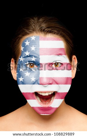 portrait of girl with united states flag painted on her face - stock photo