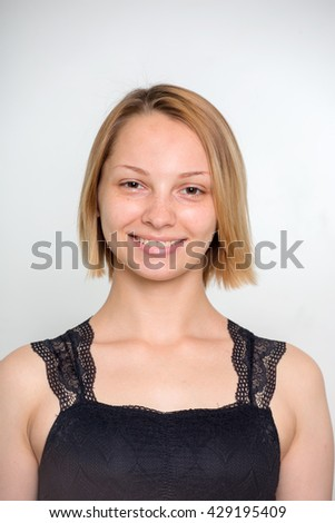 Portrait of girl without make up