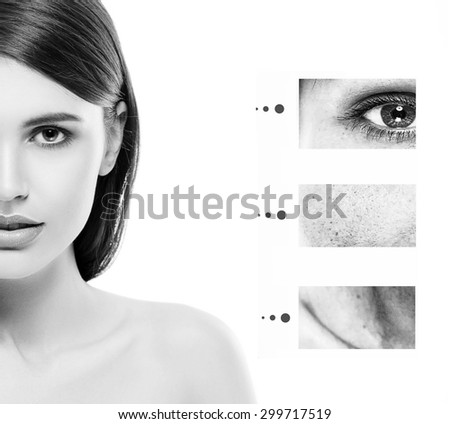Portrait of girl woman with problem and clear skin, aging and youth concept black and white - stock photo