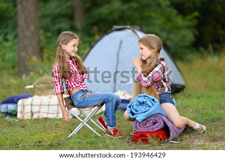 portrait of girlfriends summer camp - stock photo