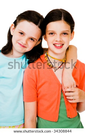 Portrait of girls posing and smiling isolated over white - stock photo