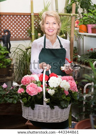 Portrait of glad mature florist smiling and having a basket with hydrangea in floral shop - stock photo