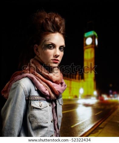 portrait of glam punk redhead girl posing near BIG BEN - stock photo