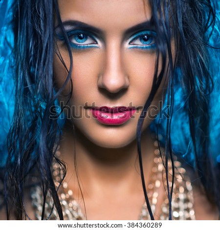 Portrait of glamor girl with make-up - stock photo