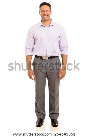 portrait of good looking mature man standing on white background - stock photo