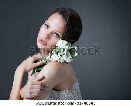Portrait  of gorgeous woman as a bride - stock photo