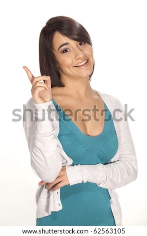 Portrait of gorgeous young woman having an idea on white background. - stock photo