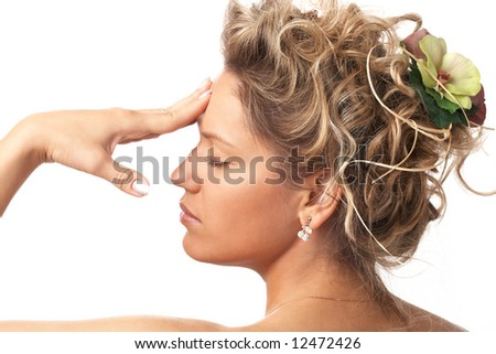 portrait of graceful girl with beautiful hairstyle over white
