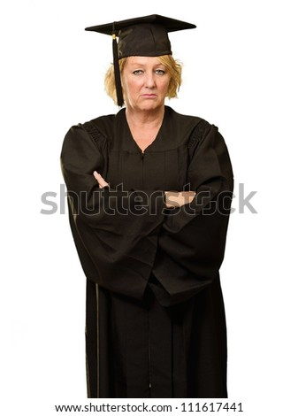 Portrait Of Graduate Woman Standing With Arms Crossed Isolated Over White Background - stock photo