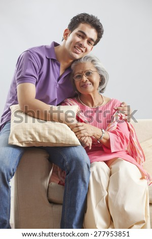 Portrait of Grandmother and grandson - stock photo