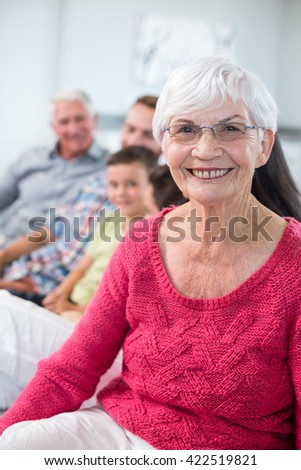 Portrait of grandmother sitting on sofa and smiling in living room - stock photo