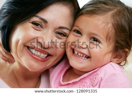 Portrait Of Grandmother With Granddaughter - stock photo