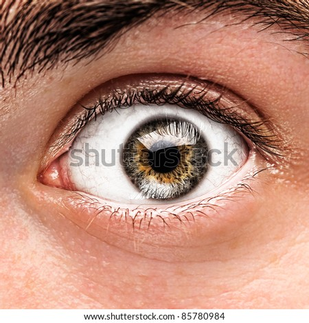 portrait of green and brown eye of young man