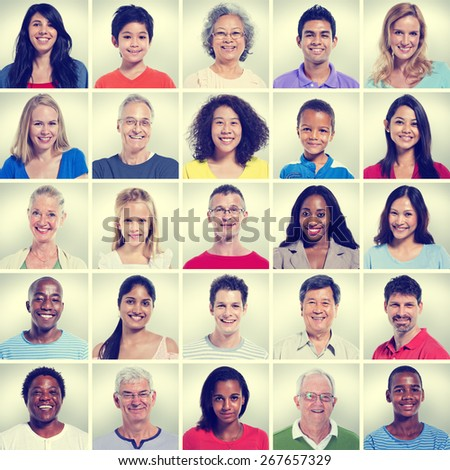 Portrait of Group Diversity People Community Happiness Concept