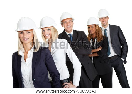 Portrait of group of construction workers standing in line  isolated on white - stock photo
