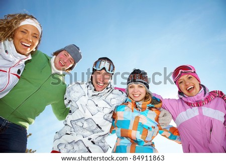 Portrait of Group of  teenagers have a good time in winter