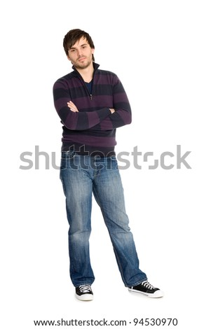 Portrait of guy in full body isolated on white background. - stock photo