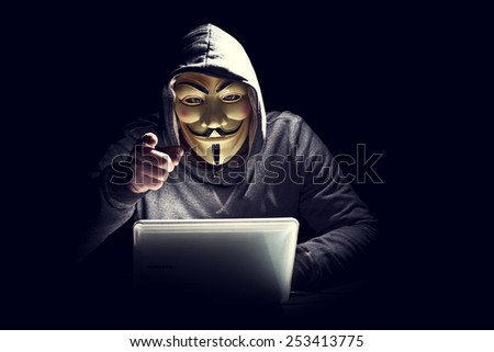 portrait of hacker with mask - stock photo