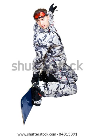 Portrait of handsome boy in sportswear with snowboard isolated on a white background - stock photo