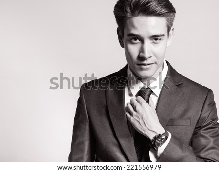 Portrait of handsome business man - stock photo