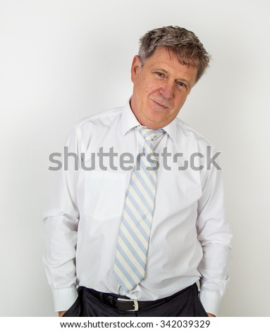 Portrait of Handsome businessman on white background