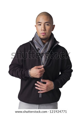 Portrait of handsome businessman with scarf around his neck isolated on a white surface - stock photo