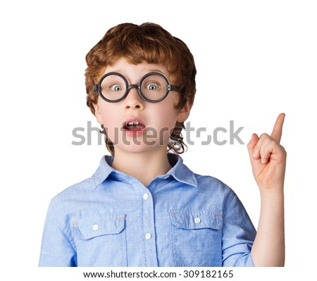 Portrait of handsome caucasian boy in round glasses who just has got an idea. Isolated on white background - stock photo