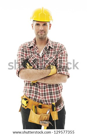 Portrait of handsome construction worker - stock photo