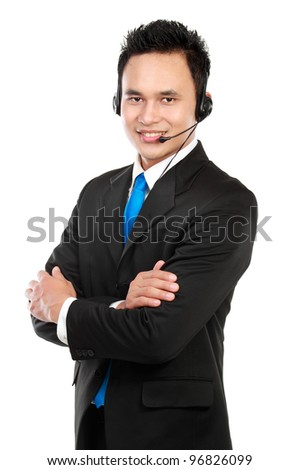 Portrait of handsome customer service isolated on white background - stock photo