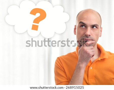 Portrait of handsome man dreams about something - stock photo